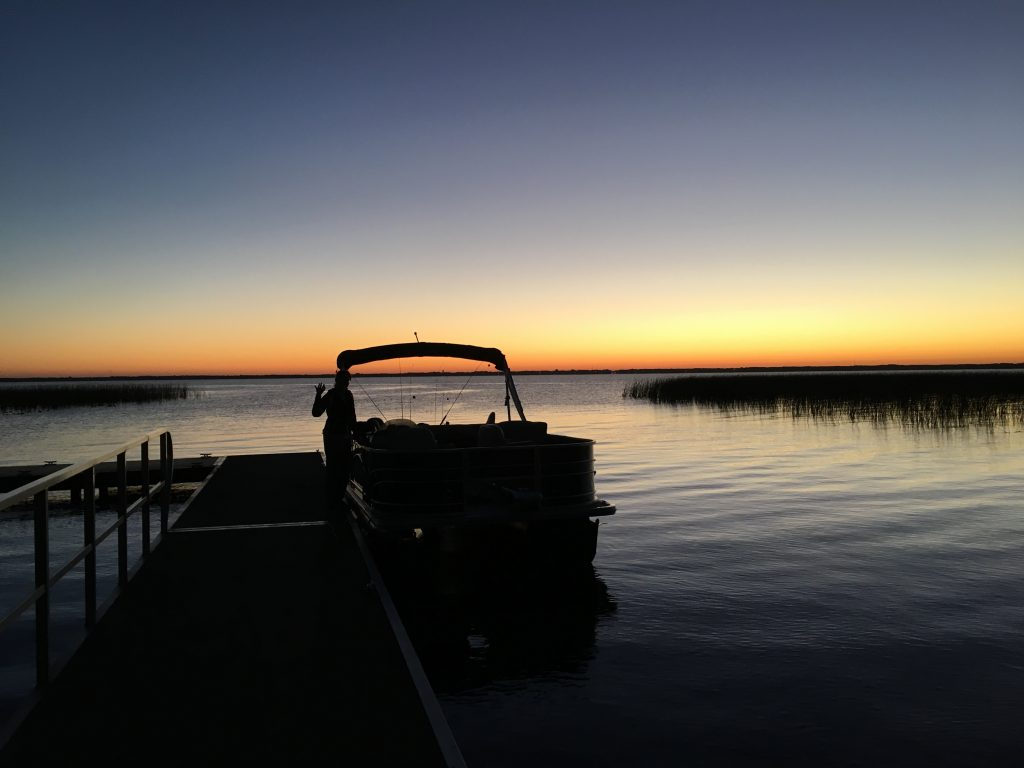 Early morning fishing on Pontoon-A-Fish